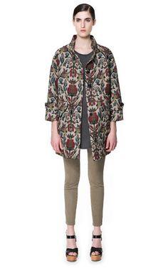 MULTICOLORED JACQUARD PATTERN COAT - Coats - Woman - ZARA United States - perfect