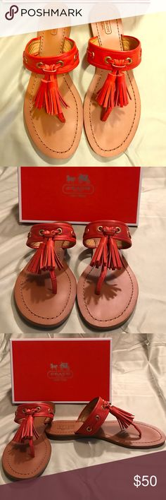 Red Tassel Coach Sandals Coach Sandals with red tassels. No flaws! Have only been worn once. Come with box. Coach Shoes Sandals