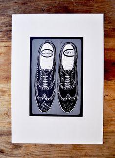 Black & Grey Brogue Shoes Lino Print Printmaking Original