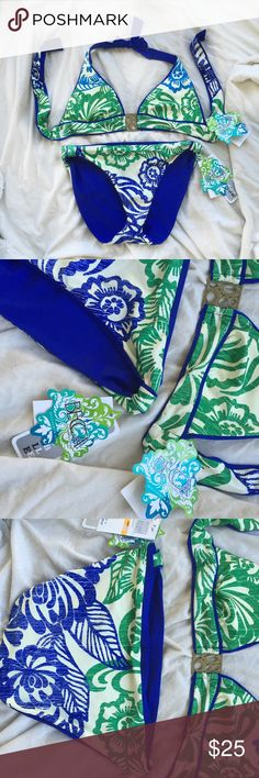 BECCA Swim NWT Small Bikini - Blue & Green Becca by Rebecca Virtue Bikini  - Brand new with tags (bottom originally  $56 top $82) - Size small  - Colors: blue, green BECCA Swim Bikinis