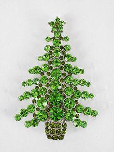 Green rhinestone crystal Christmas tree pin brooch R31