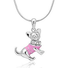 925 Sterling Silver CZ Cubic Zirconia 3D Cute Pink Chihuahua Puppy Dog Pendant Necklace, 18 inches