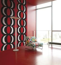 Kaivo Red by Marimekko by NewWall Art Deco Wallpaper, Red Wallpaper, Marimekko Wallpaper, Marimekko Fabric, Red Rooms, Architecture, Textures Patterns, Bold Colors, House Colors