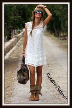 Wild Flower White Crochet Lace Sleeveless Mini Dress