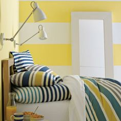 Love this Gallery Bedding from West Elm like sunshine in a bottle! We are using it on twin beds for a guest room