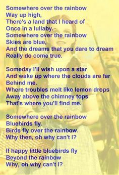 Lyrics of 'Over the Rainbow,' The Wizard of Oz Great Song Lyrics, Songs To Sing, Music Lyrics, Music Songs, Silly Songs, Piano Music, Music Videos, Preschool Songs, Kids Songs