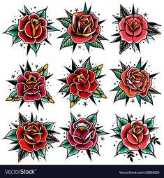 Traditional Rose Temporary Tattoos Rose Tattoos Temporary Rose Tattoos Red Rose Tattoos Watercolour Temporary Tattoos - These temporary Traditional Rose tattoos are printed in gorgeous bright colours. With bold lines th - Old School Tattoo Rose, Old School Rose, Old School Tattoos, Traditional Tattoo Flowers, Traditional Roses, American Traditional Rose, Traditional Tattoo Knee Cap, Traditional Tattoo Flash Art, Traditional Tattoo Sketches