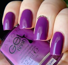 Avon Gel Finish Purplicious. Get the look at (AU) http://avon4.me/25TKc3E (NZ) http://avon4.me/1SrkF7V / AvonAUSNZ / manicure / Style / nail polish / fashionista / trends / beauty / colourful nails / nail polish