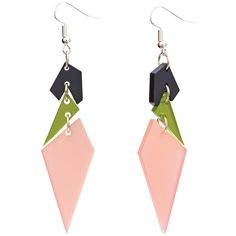 Toolaly statement Earrings - Abstract diamonds Pink