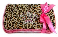 Leopard Bling Crown Travel Wipe Case-leopard bling crown travel wipe case,designer wipe cases,baby wipe case,rhinestone travel wipe case