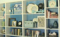 vintage modern bookcase styling