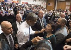 President Obama greeted supporters Thursday after a speech at Central High School in Phoenix.