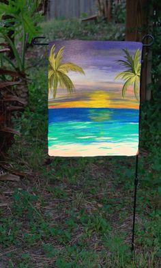 Tropical sunset beach garden flag