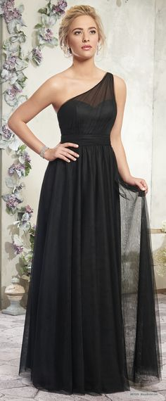 MB7009   One shoulder tulle A-line bridesmaid dress features ruched bodice, ruched belt at natural waist line, gathered skirt, and zipper closure.
