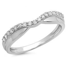 Symbolic of your romantic commitment, this 10K White gold wedding band will forever warm her heart. For a snug fit with her engagement ring, this design is slightly contoured at the center, prong-set with 0.25 ct. of shimmering round diamonds, and finished with a bright polish. Honor her with this beautiful style on your wedding day.