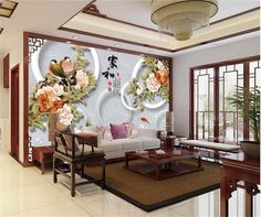 3d room photo wallpaper custom mural non-woven wall sticker flowers bird sofa TV background painting 3d wall murals wallpaper