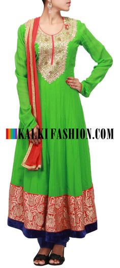 Buy Online from the link below. We ship worldwide (Free Shipping over US$100)  http://www.kalkifashion.com/green-anarkali-suit-featuring-in-gotta-patti-and-aari-work-only-on-kalki.html Green anarkali suit featuring in gotta patti and aari work only on Kalki