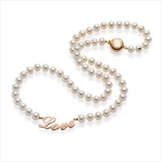 Just one word and all is good... Necklace Love by Yana Nesper, Freshwater Pearls, Rosegold 585 collection Freshwater Classics