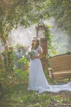 Magical woodland weddings creative inspiration shoot at Beamish Hall. Bride in gorgeous jenny packman dress. surrounded by fairy lights, pom poms country house furniture. New woodland wedding ceremony venue in Durham, newcastle