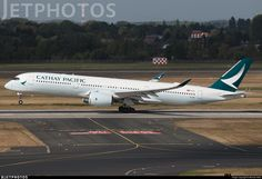 Cathay Pacific Airbus A350-941XWB (registered B-LRE) touching down at Düsseldorf