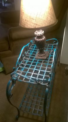 Added turquoise to this lamp table and a burlap shade to my lamp