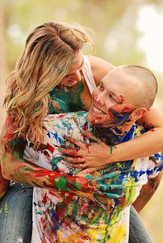 Melissa & Ken | Engagements » {Two Birds One Stone Wedding - Abilene, Texas Wedding Photographer} - Paint Fight Engagement Photos