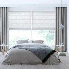 White and grey curtains Ceiling Curtains, Drapes And Blinds, Bedroom Blinds, House Blinds, Home Curtains, Modern Curtains, Custom Curtains, Home Bedroom, Bedroom Decor
