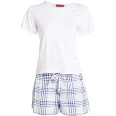 Boohoo Jenny Jersey Tshirt & Blue Check Shorts Set ($20) ❤ liked on Polyvore featuring intimates, sleepwear and pajamas