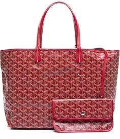 Goyard Red Monogram Coated Linen Saint Louis PM Bag dfd182a63f4a7