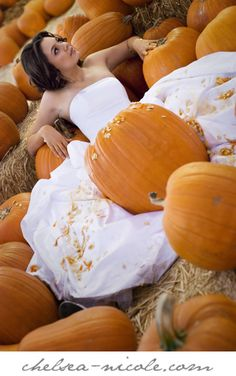 Visit the pumpkin patch and carve a pumpkin   28 Ways To Trash Your Wedding Dress