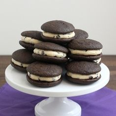 Cookie Dough Whoopie Pies: cakey chocolate cookies with a sweet (eggless) chocolate chip cookie dough filling.