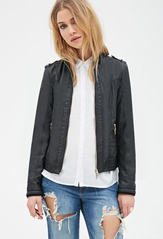 e3a4cd4666849 Collarless Faux Leather Moto Jacket