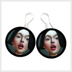 Earrings decoupage vintage colours circles crafts by SzaraLotka, $15.00