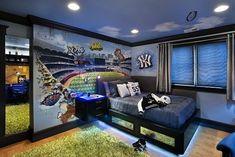 teen boy bedrooms | teen boy bedroom with blue neons