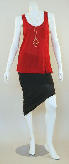 Bella Luxx Twist Seam Tank, Bella Luxx Asymmetrical Skirt & Alexis Bittar Necklace