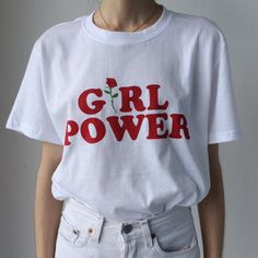 Girl power screen printed t-shirt in white by GloriousPJs on Etsy