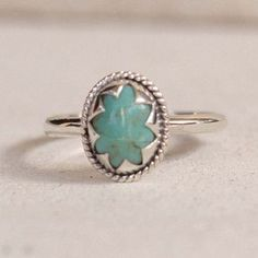 Natural Turquoise Star ring in Solid 925 Sterling Silver - donbiujewelry - 1