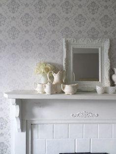 B A R O U Q E  French White Framed Mirror  by smallVintageAffair,