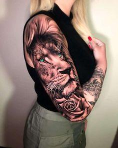 Lion Tattoo Girls, Lion Tattoo On Thigh, Lion Tattoo Sleeves, Mens Lion Tattoo, Tribal Sleeve Tattoos, Best Sleeve Tattoos, Tattoo Sleeve Designs, Lion Sleeve, Tiger Tattoo Sleeve
