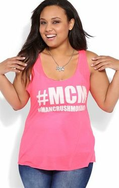 Deb Shops Plus Size Racerback Tank Top with Glittery Man Crush Monday Screen $12.00