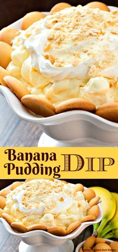 You'll take Southern banana pudding to another level with this no-cook Banana Pudding Dip ready for snacking with vanilla wafers or graham crackers. Dessert Dips, Köstliche Desserts, Delicious Desserts, Dessert Recipes, Yummy Food, Dip Recipes, Finger Desserts, Pudding Desserts, Pudding Recipes