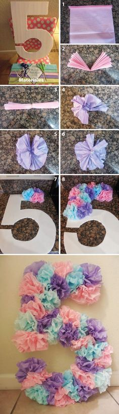 Create a great children's party with the craft ideas for children's birthday Bastelideen für Kindergeburtstag – Partydekoration - Colorful Baby Rooms Unicorn Birthday Parties, Unicorn Party, Birthday Party Decorations, Birthday Ideas, Birthday Diy, Diy Birthday Number, Diy Quinceanera Decorations, Moana Birthday, Quinceanera Ideas
