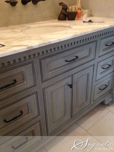 Subtle saved distressed kitchen cabinet navigate here Distressed Cabinets, Grey Cabinets, Gray Stained Cabinets, Cabinet Stain Colors, Staining Cabinets, D House, Kitchen Cabinets In Bathroom, Granite Bathroom, Kitchen Grey