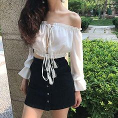 Openwork perspective chiffon long sleeve crop top Source by top outfits Crop Top Outfits, Girly Outfits, Classy Outfits, Skirt Outfits, Cute Outfits, Korean Fashion Trends, Korean Street Fashion, Asian Fashion, Cute Fashion
