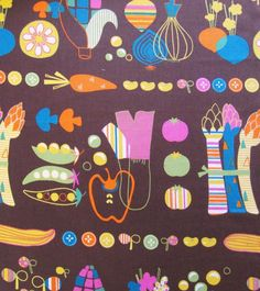 Scandinavian kitchen fabric from Westex Japanese fabrics - nice retro veggie print!  Would be great for aprons and kitchen accessories!  http://www.maigocute.com/collections/fabric/products/scandinavian-kitchen-veggies-brown-westex