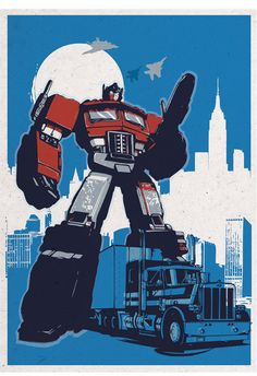 Retro Transformers poster set Original Prints 4 POSTERS: * Optimus Prime (Peterbilt truck) * Bumblebee (Retro VW beetle car) * Jazz