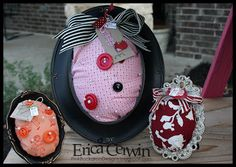 Super cute pin cushions made with Stampin' Up! fabric. Erica is so talented!