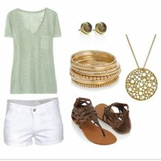 I don't usually like yellow gold, but I love this combo and the soft pastel green in the shirt.  I think denim or khaki shorts would be more my thing, though.