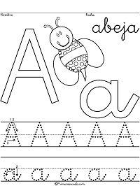 Fichas de caligrafía - tipo escritura escolar palo largo - abecedario A a la Z