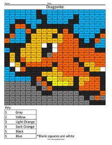 Dragonite Pokemon math coloring worksheets